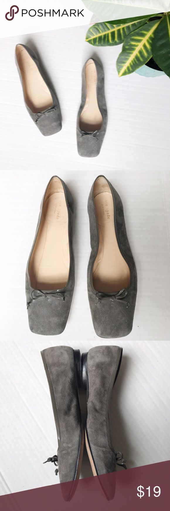 Kate Spade Suede Square Toe Ballet Flat Suede square toe ballet flats from Kate spade. Size: 9.5. Color: gray. Suede ballet flats with bow at square toe. Slight half inch heel. Some minor wear at the toe (shown). Comes with dust bag and box. kate spade Shoes Flats & Loafers