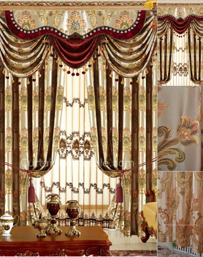 b2295554ece8be Magnificence Damask Floral Living Room Curtain In Gold Color Not Included  Valance