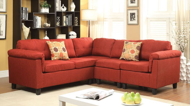 Acme Cleavon Red Sectional Sofa 51545 For $524