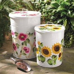 Floral Painted Storage Containers Great For Storing Bird