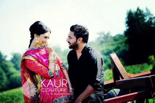 Harmeet in Phulkari ghagra by Bir Kaur Dhillon of Kaur Couture
