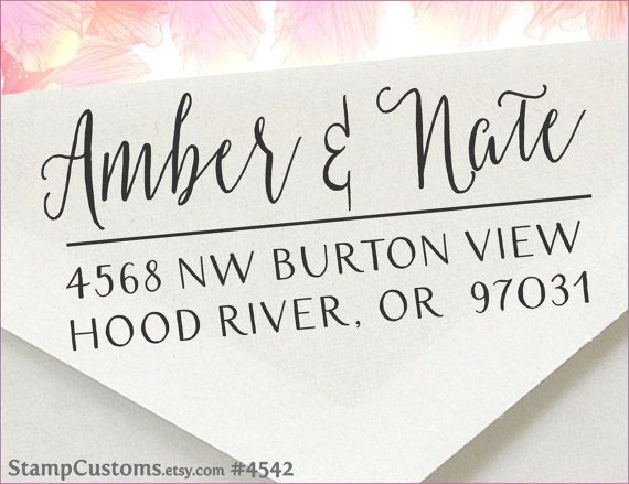 (4) Address Stamp  - Custom Return Address Stamp - Wedding Calligraphy Address - 4542