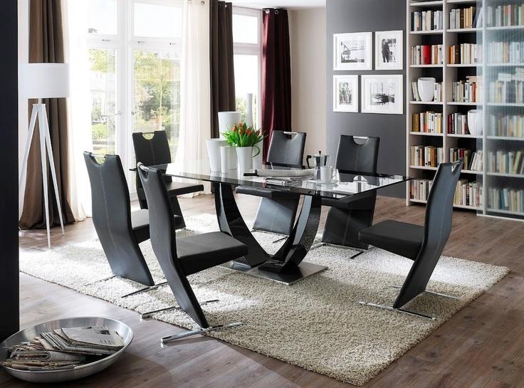 TEZINO Säulentisch 200x100 Cm Glasplatte/Hochglanz