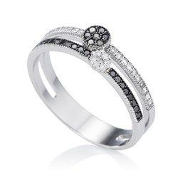 Anel Ouro Branco e Diamantes Melindre