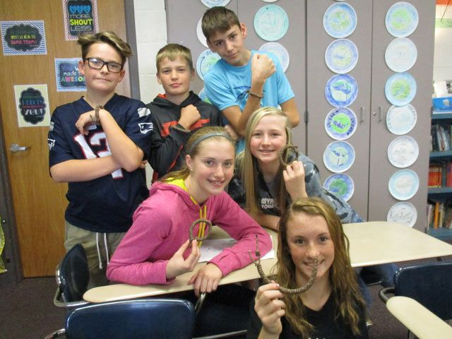 """Mount Vernon Middle School seventh-grade BEE Team students completing """"Operation Gratitude"""" paracord bracelets for troops and first responders include top row, from left, Marcus Bradley, Hayden Murray and Will Daley; middle row, Emilee Burke and Ashley Berg; and bottom row, Rhyli Pope."""