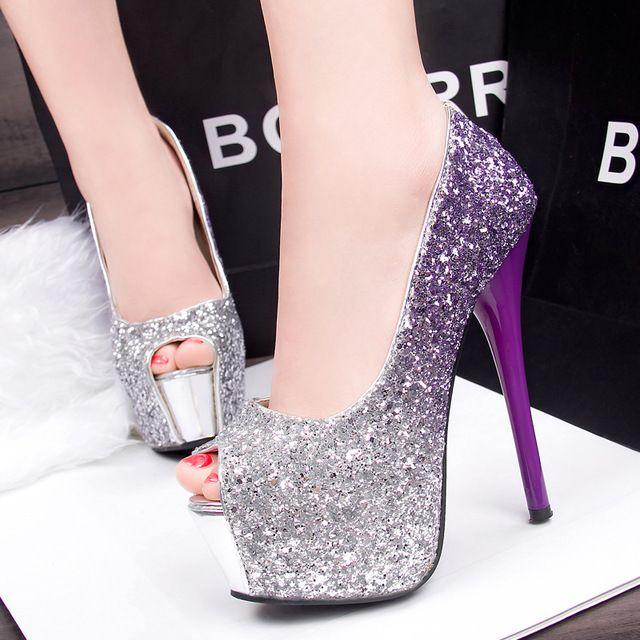 Plataformas extremas finas das mulheres do salto bombas mulheres sexy sapatos peep toe de salto alto cor gradiente glitter partido sapatos de noiva