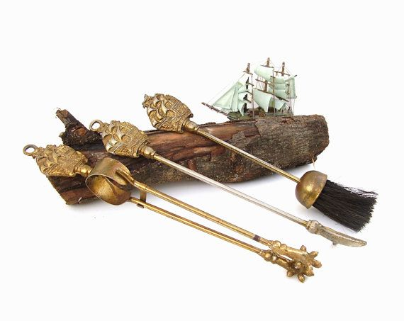 Antique Fireplace Tools Set of 3 Nautical Brass by OceansideCastle
