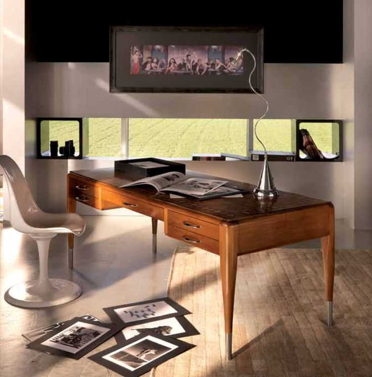 Scrivania Art Deco con piano intarsiato e cassetti in pelle rivestiti_Desk with inlayed top and drawers with leather Art Deco_Bertelè