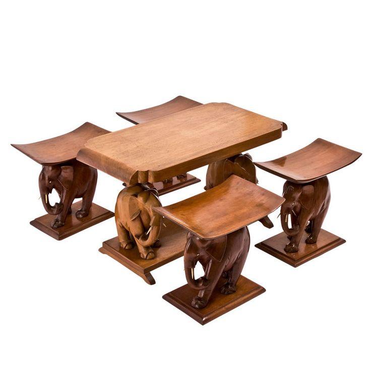 "Suite Of African Teak ""Elephant"" Furniture"