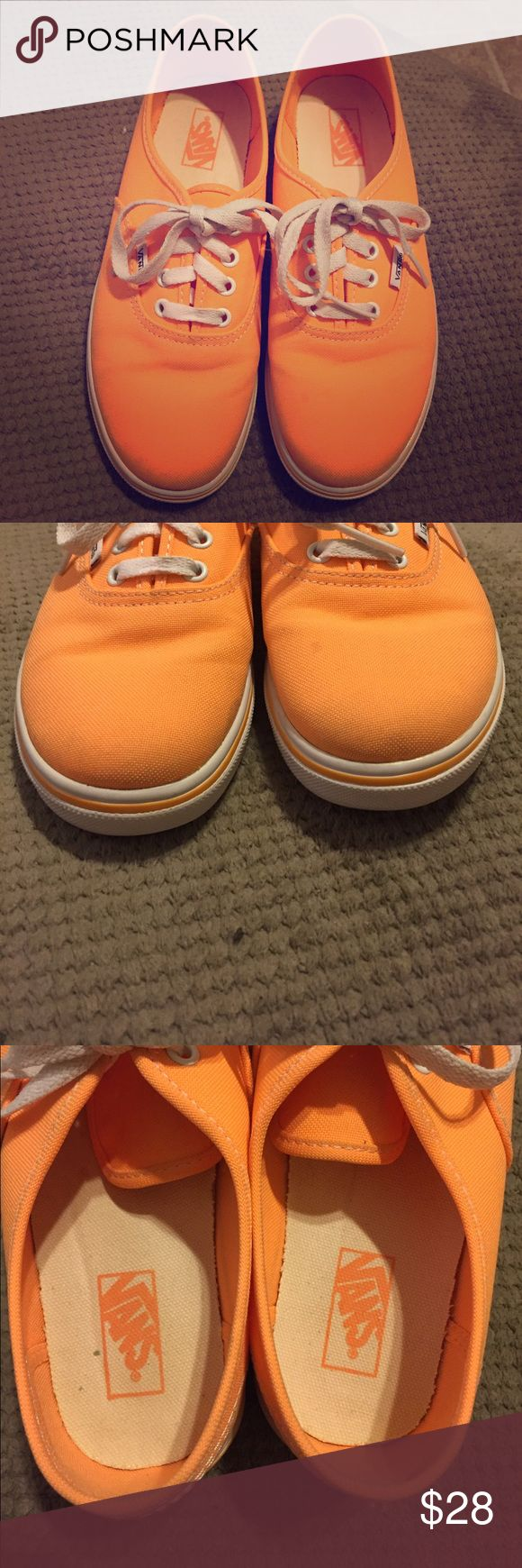Neon orange vans Bright orange vans. Like new aside from pictured stain. Price firm. Vans Shoes Sneakers