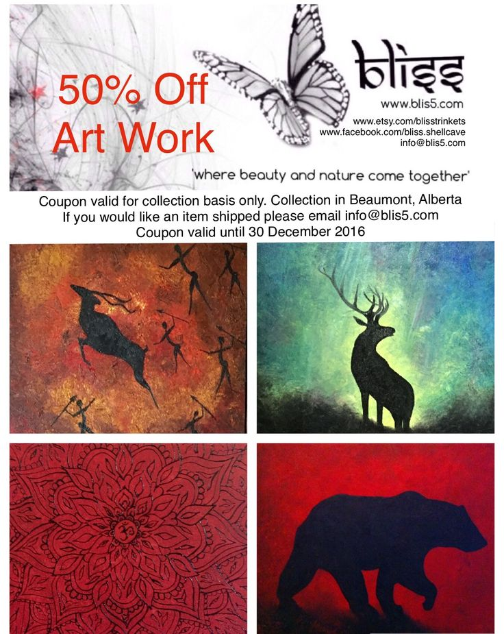 Give the gift of Art this Christmas 50% Off all Art Work www.blis5.com Coupon valid for pick up only. Pick up in Beaumont, Alberta.  Please email info@blis5.com for delivery options.  coupon valid until 30 December 2016 Follow us on Facebook www.facebook.com/bliss.shellcave www.etsy.com/blisstrinkets  #canvaspainting #oiloncanvas #bliss #art