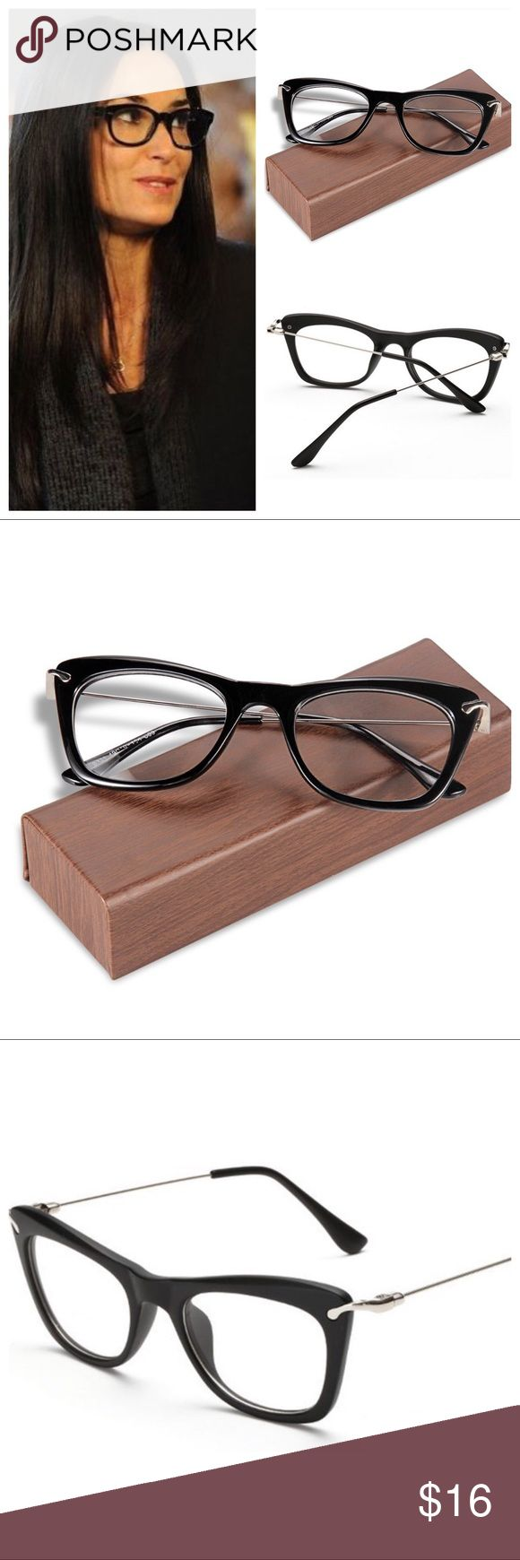 BLACK CAT EYE EYEGLASSES Womens Vintage Cateye Metal Eyewear with Clear Lens Eyeglasses. Black. Composite frame. Lens width: 49. Lens height: 35. You could change into your prescription lenses.Case & cloth Included. Enjoy! Accessories Glasses