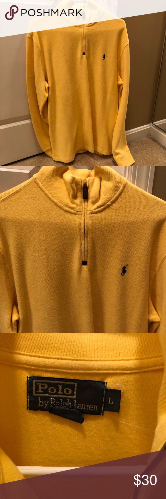 Men's Ralph Lauren Half Zip Sweater Size Large. NWOT. Yellow with Navy Logo. No trades. Ralph Lauren Sweaters