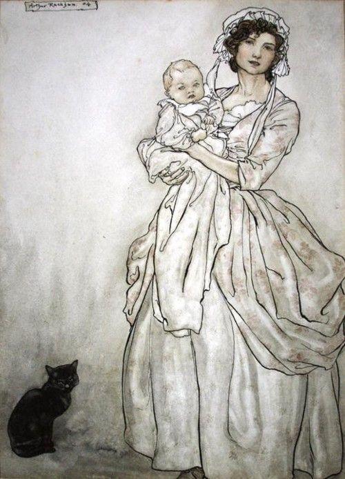illustrationsofcats:    Rip's Daughter and Grand-child - Arthur Rackham