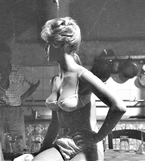 Brigitte Bardot during the filming of Les Bijoutiers du clair de lune, 1957. Photo by Peter Basch.