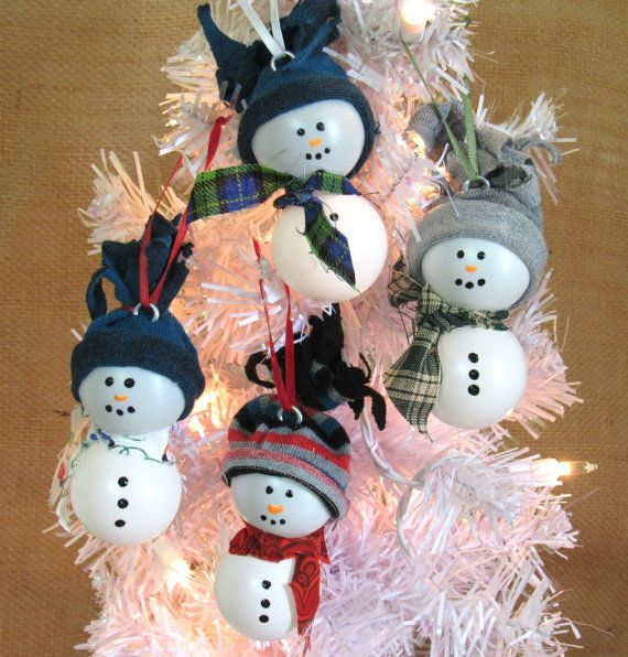 Ping Pong Snowman Christmas Tree Ornament by FarmCountryCrafts