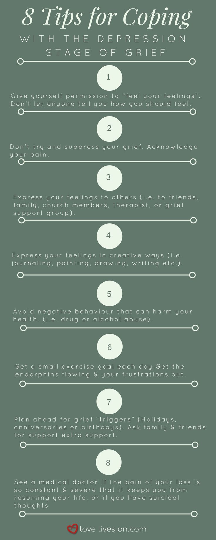 5 Stages of Grief Infographic: 8 Tips for Coping With the Depression Stage of Grief.