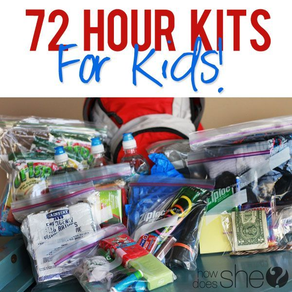 72 Hour Kits for Kids!! Tells you what to pack and how to store! #emergency #kits from howdoesshe.com