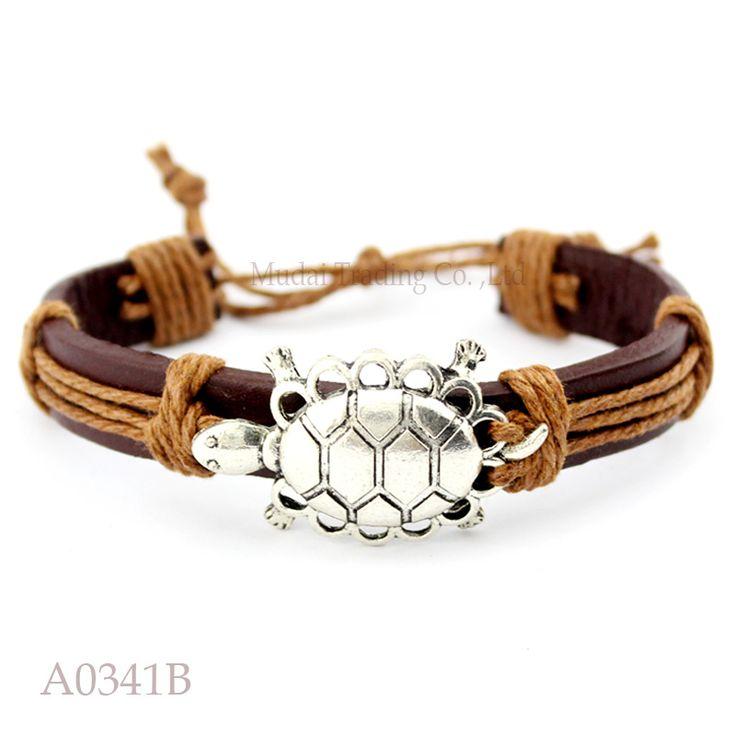 (10 pieces/lot) ANTIQUE SILVER Tortoise Turtle Terrapin Charm Adjustable Leather Cuff Bracelet Punk Casual Friendship Jewelry