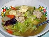 Mild soup with chicken meatballs at Sun's place, Nakhon Si Thammarat