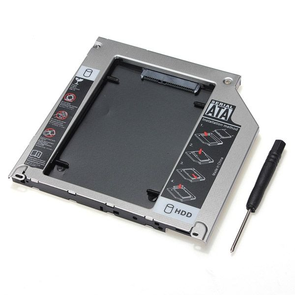 2ND SATA 2.5 Inch HDD Hard Drive Caddy Bay For MacBook Pro SuperDrive    Description:  This caddy will allow you to increase your notebooks HDD size to huge TB!! all you have to do is to replace your DVD drive with this caddy.  If you are not sure this will work for your notebook, please email the dvd model number, you could find out the superdrive model number in your system profiler (see screenshot in above picture pack)!  This device takes 2.5″/9.5mm SATA laptop HDD SSD    Features:  SATA…