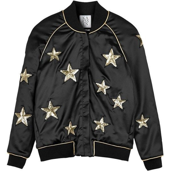 Zoe Karssen Star All Over Bomber Jacket found on Polyvore