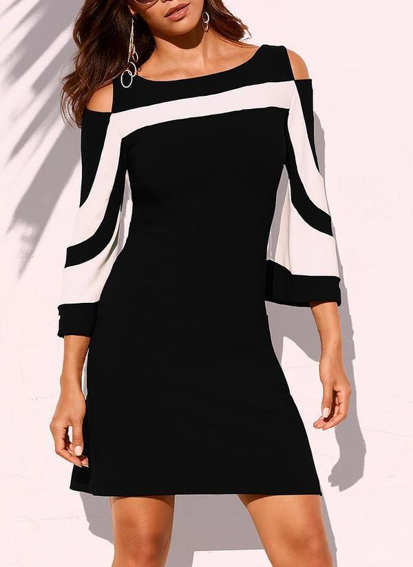05646d1a387 Plus Size Dresses. Cold Shoulder Half Sleeve Mini Dress For Women