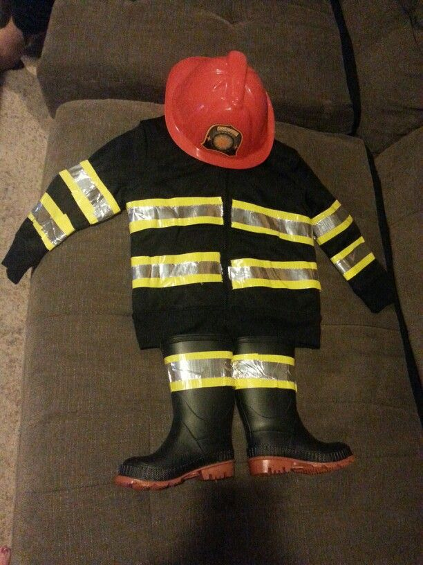 DIY Toddler Fireman Costume Duct Tape