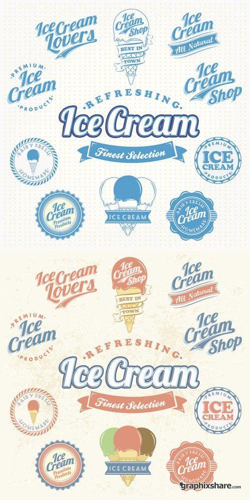 Ice Cream - Vintage Labels