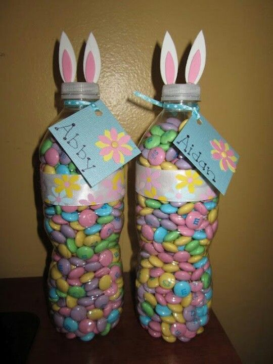 18 best easter sunday images on pinterest birthdays bricolage quick and easy easter bunny made from water bottles each bottle takes a little more than a oz bag of m ms use little foam pieces for the ears negle Image collections