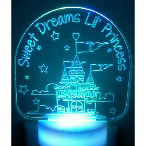 Sweet Dreams Lil Princess Night Light ($15) ❤ liked on Polyvore featuring home, lighting, home & living, night lights, teal, colored lamps, princess lamp, colored lights, teal lamp and teal lights