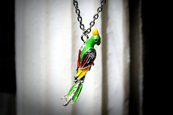 Hippie chic boho style necklace pendant parrot от SteampunkBDSM