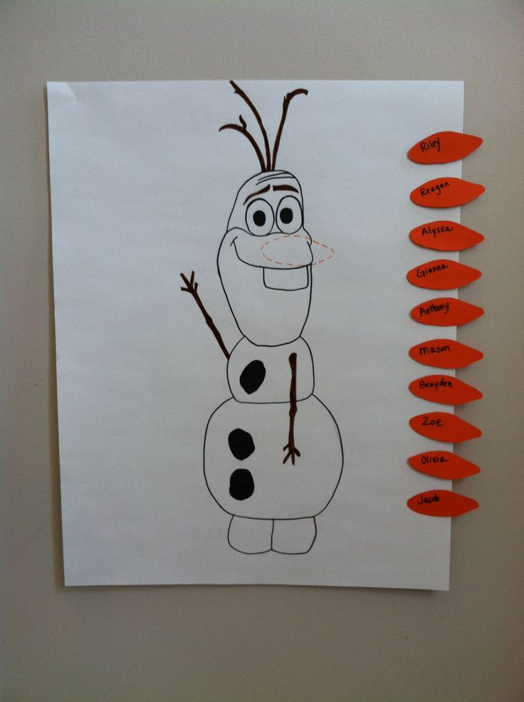 Pin The Nose On Olaf. Disney Frozen Birthday Party Game.