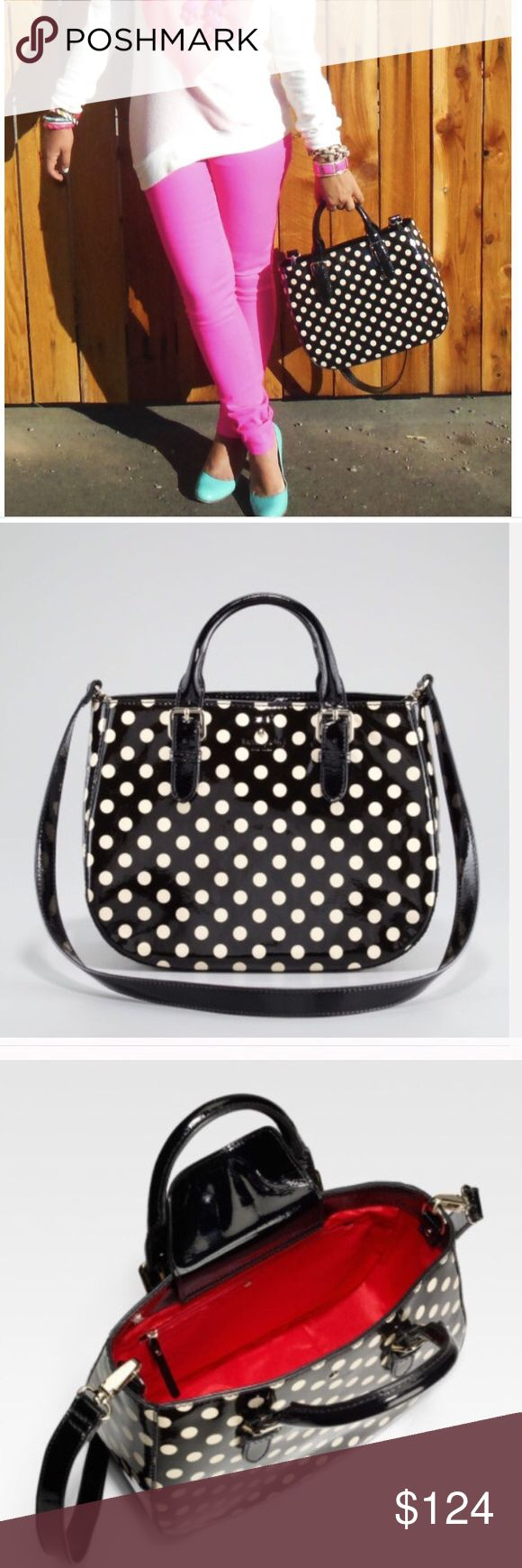 """kate spade Polkadot Carlisle Street Sylvie Bag This bag bridges old and new styles with its vintage shape in a size large enough for today's on-the-go woman. Polka-dot printed patent leather with golden hardware. Tote handles with belt-detail edges; 4"""" drop. Removable, crossbody strap; 20"""" drop. Open top with center snap-button flap. Embossed logo with signature metal spade at center. Interior, solid fabric lining; one zip pocket and two open pockets. 10 1/2""""H x 13""""W x 5""""D Used once. No wear…"""