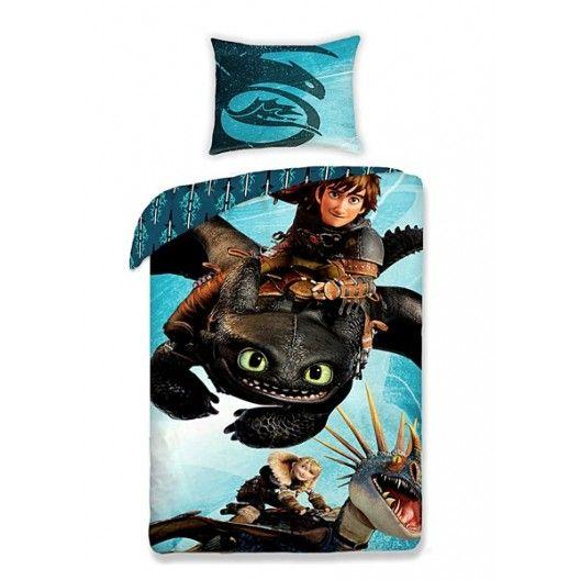 0a1ab0d37 Modré detské posteľné obliečky s drakom | Detské posteľné obliečky ...