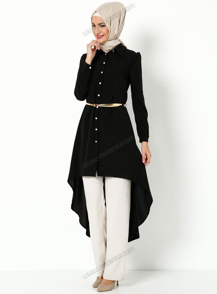İnci Düğme Detaylı Tunik - 1475 - Siyah - Zernişan