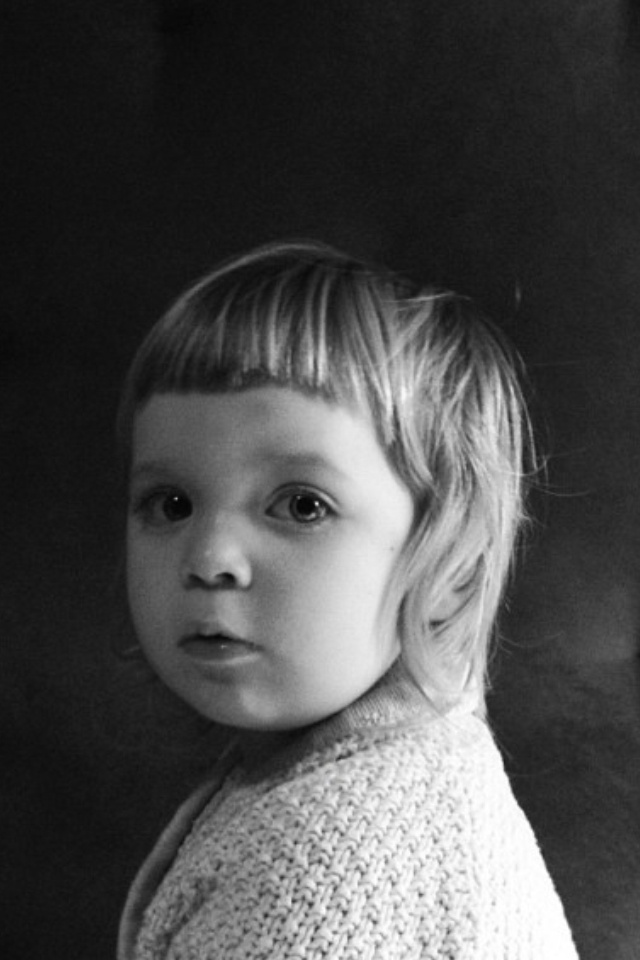 """""""Baby Bangs"""" and very hipster-esque hair flares on child."""