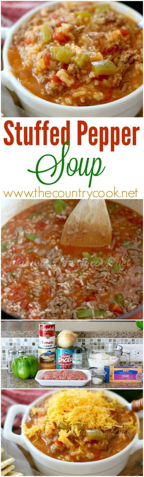 Stuffed Pepper Soup recipe from The Country Cook. Full of rice, ground beef…