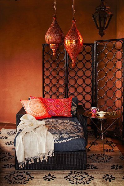 Top tips on how to add a touch of Morocco to your bedroom - patterned fabrics and copper accessories