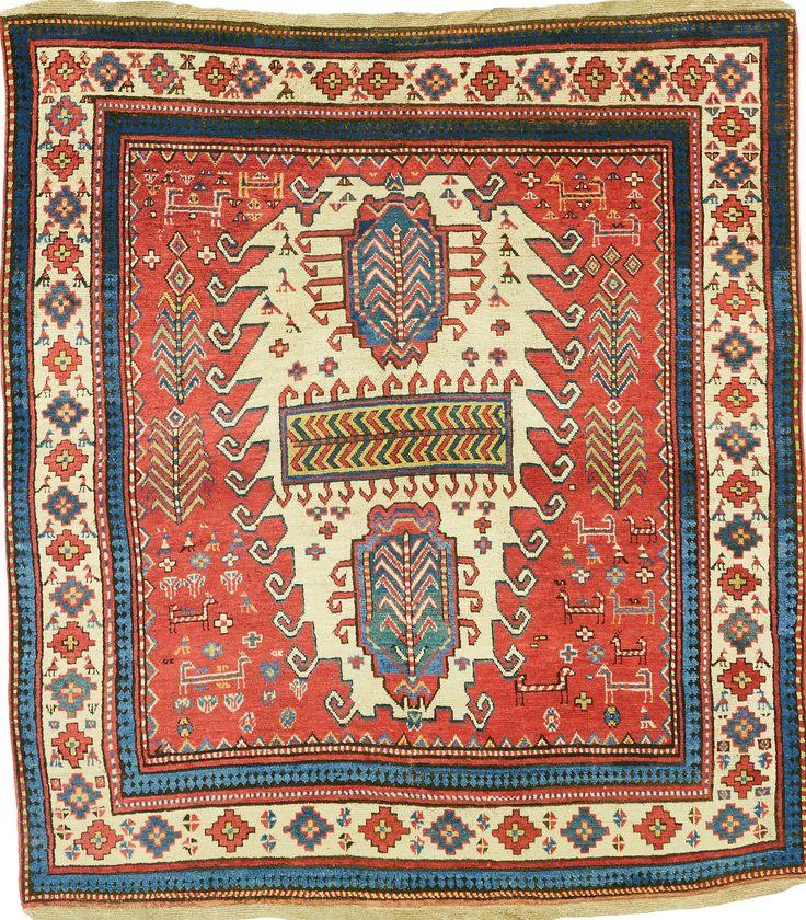 Caucasian Kazak rug, 178 by 162cm, circa 1850, Sotheby's