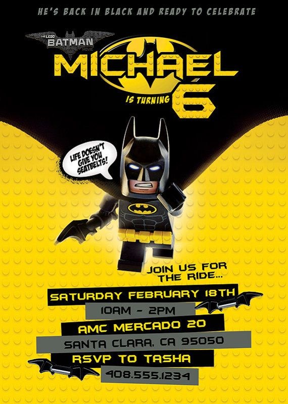 NEW for 2017 Lego Batman Movie Invitation by PrismAddictPrints