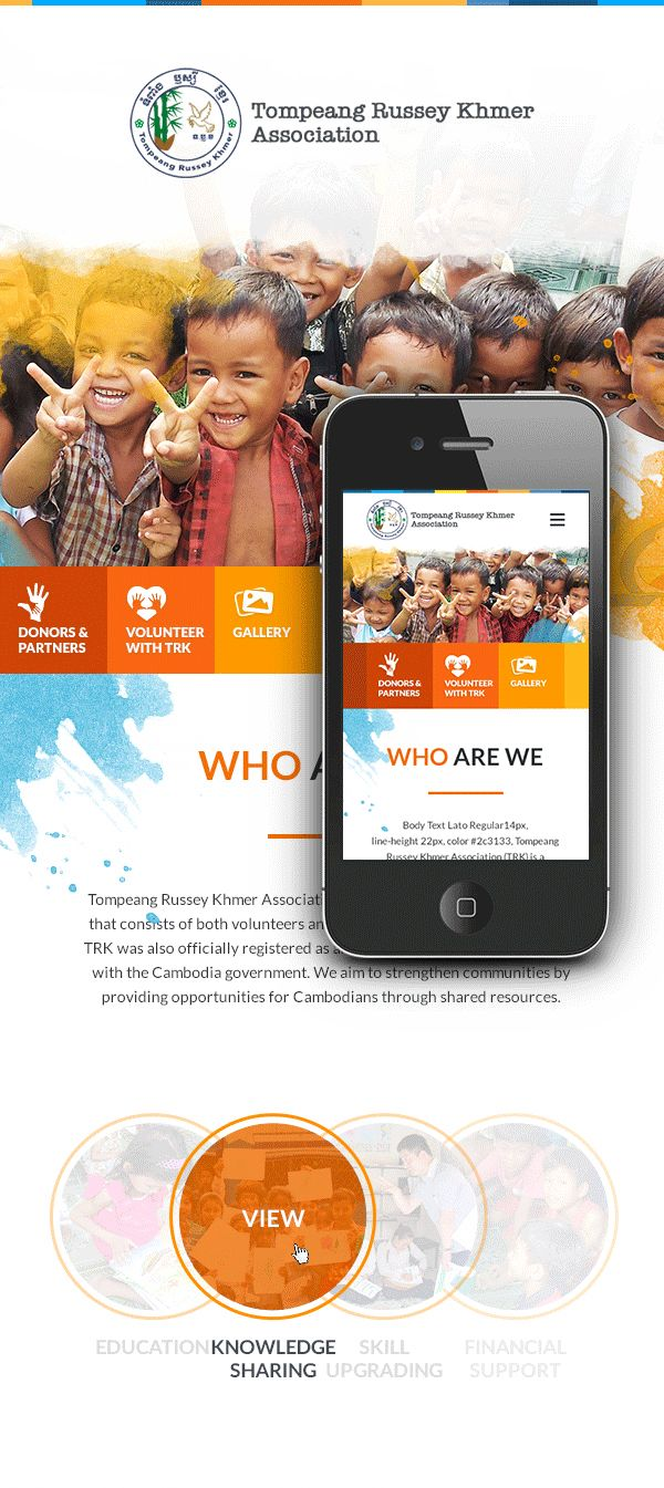 Concept of Charity Website - Tompeang Russey Khmer Association (TRK)  (It's a non-governmental (NGO) and non-profit organization which aims to strengthen the community.)