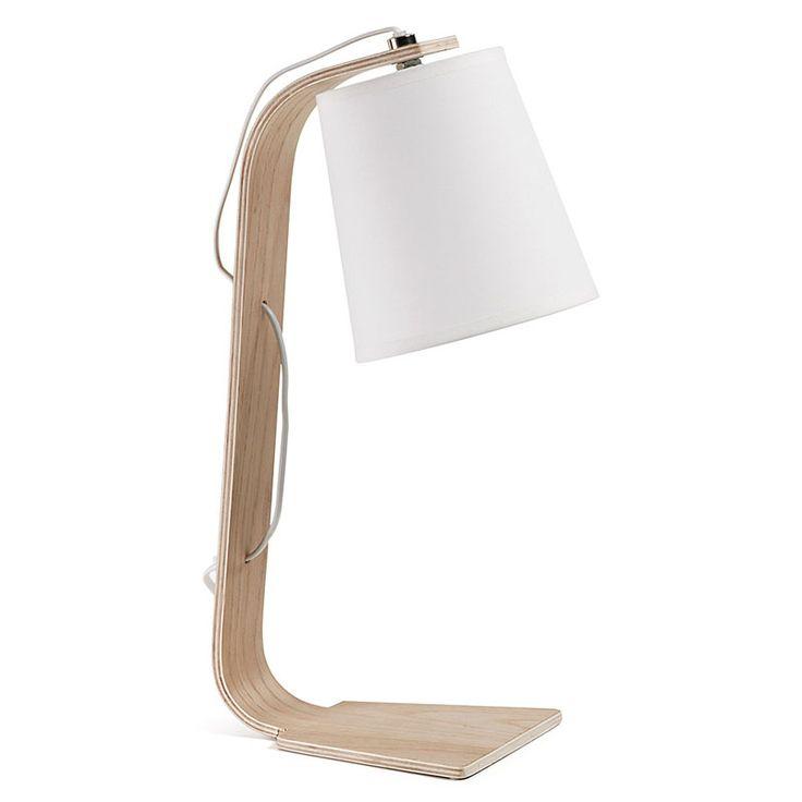 54 € Lámpara de sobremesa en madera con pantalla de algodón blanca