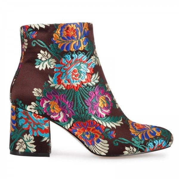 Louisa Floral Print Multi Colour Ankle Boot (£35) ❤ liked on Polyvore featuring shoes, boots, ankle booties, floral-print boots, multi colored boots, floral boots, calf length boots and multi color boots