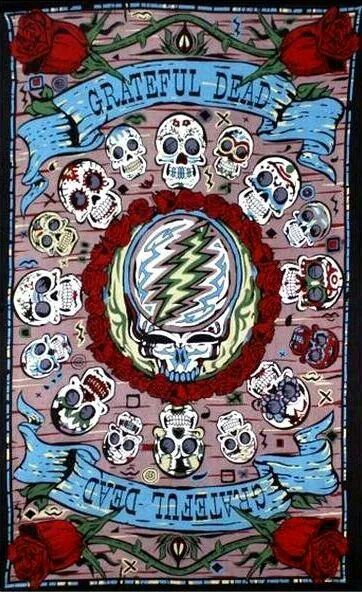 """Grateful Dead SYF on a beautiful 60"""" X 90"""" cotton tapestry. Roses and mexican skulls adorn this tapestry surrounding the SYF. Made in India"""