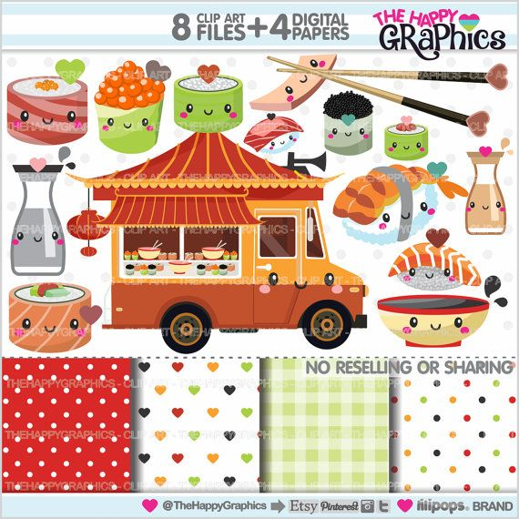 Sushi Clipart, Sushi Graphics, COMMERCIAL USE, Kawaii Clipart, Cute Clipart, Food Truck, Oriental Food, Chinese Food, Planner Accessories