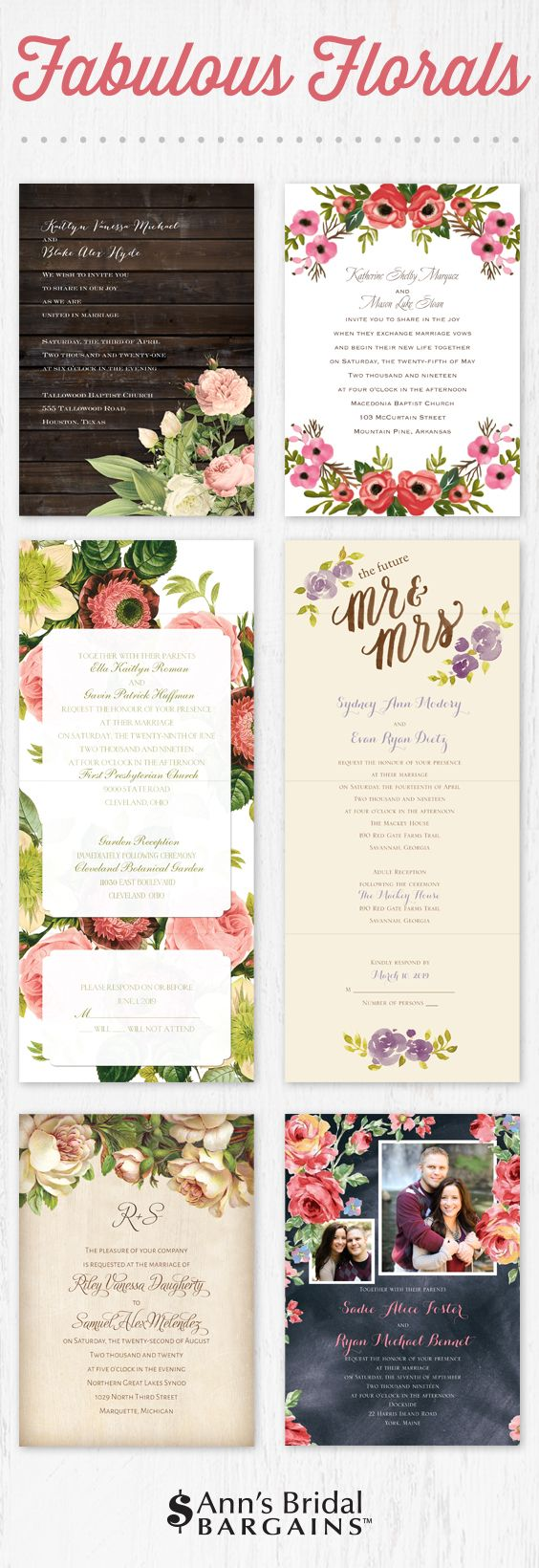 best places to get wedding invitations online%0A Affordable floral wedding invitations from Ann u    s Bridal Bargains