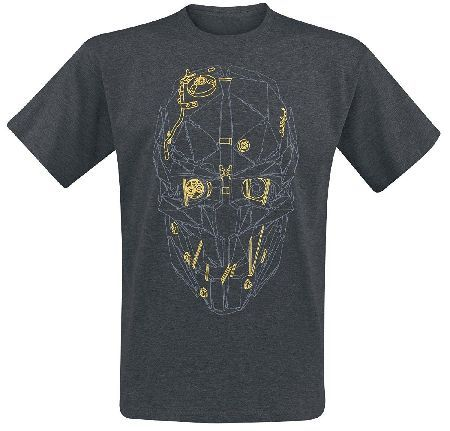 Dishonored 2 M Tshirt Mask Dishonored 2 - Corvos Mask Gold for Männer in dark greying made of 60% cotton 40% polyester. Officially licensed product. (Barcode EAN=0640522660254) http://www.MightGet.com/march-2017-1/dishonored-2-m-tshirt-mask.asp