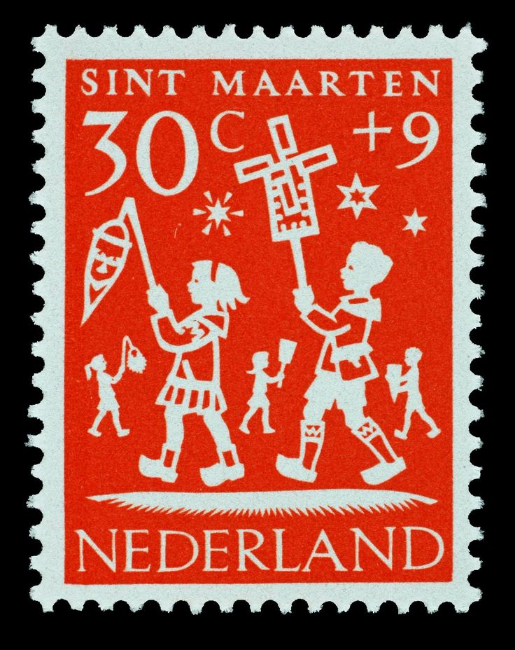 St Martin's day, November 11. 1961 Hil Bottema | oranje | Sint Maarten, kinderen, lampion