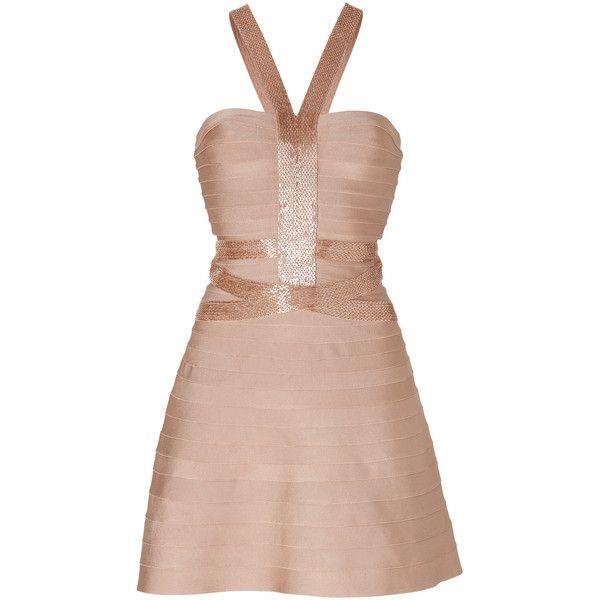 HERVÉ LÉGER Dress in Gold/Champagne (€710) ❤ liked on Polyvore featuring dresses, hervé léger, robe, vestidos, beaded dress, herve leger dress, gold bandage dress, gold shimmer dress and champagne beaded dress